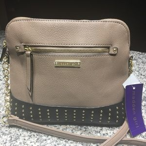 NWT Madden Girl Leather Taupe Crossbody